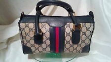 GUCCI #002-39-0069 VINTAGE COATED CANVAS/LEATHER BLUE/RED WEBBING DR'S SPEEDY BA