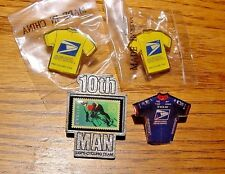 USPS POST OFFICE PRO CYCLING TEAM Lapel/Hat Pins  3 Jersey Shaped + 10th Man