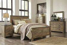 "Ashley ""Trinell"" Queen Authentic Rustic 6 Piece Bed Set Furniture B446"