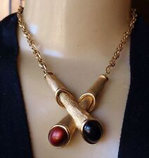 Vintage Necklace Signed Emmons Huge Double Telescope Pendant
