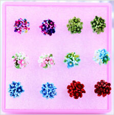 Wholesale jewelry a lot of 6 PCS flowers resin mixed fashion stud earrings