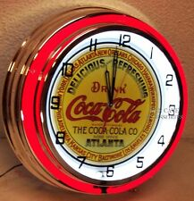"18"" Drink Coca-Cola Delicious & Refreshing Coke Keg Label Sign Double Neon Clock"
