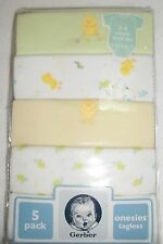 5 Gerber Tagless Onesies Prints and Solid  Greens and Yellows Size 3-6 Month