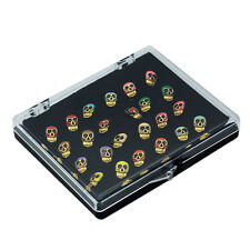 Wholesale Lots 24pcs Colored Skull 18k Yellow Gold Plated Ear Stud Earrings