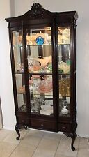 Antique Rare Queen Anne Display Curio China Cabinet Beveled Glass Mirror Back
