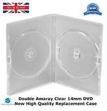 100 Doppie chiaro da 14 mm DVD contiene 2 Dischi Amaray alta qualità nuovo caso di sostituzione