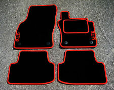 "Car Mats in Black/Red Trim to fit VW Golf Mk7 (2013 on) + Red ""GTD"" Logos"