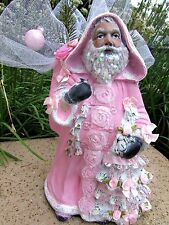 """12"""" SHABBY CHIC VICTORIAN VILLAGE CHRISTMAS PINK SANTA Glitter Roses Lace"""