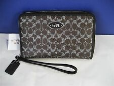 Coach Zip Around Universal Embossed Signature Canvas Wallet 63447 Saddle Brown