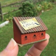 Hand Painted Rustic Birdhouse Bird House Betterley Dollhouse Miniature Garden