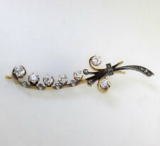 Victorian antique diamond leaf spray brooch pin 18K Y/ gold Euro rose cut 1.20CT