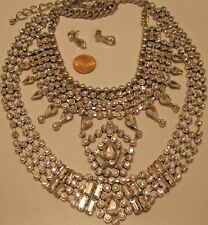 Necklace Earring Set Huge Silver Rhinestones Cluster Egyptian Collector NWT L657