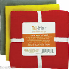 Set/3 MU Kitchen Cotton Flour Sack Tea Towels Cool Red Grey Yellow - NEW