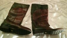 Lorenzo Banfi Cole Haan Leather Brown Green Wms  Dress Boots Size 39 As Is Marks