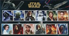 Star Wars - 12 Personaggi - MINI FOLDER SET 12 francobolli Gran Bretagna 2015
