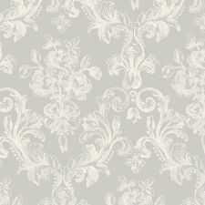 Contemporary Cottage Chic Grey Cream White Modern Damask Designer Wallpaper Diy