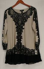 Style & Co Plus Size Top 1X Paisley Applique Tunic Femme Scroll Black NEW
