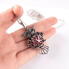 Chic Women Owl Locket Necklace Perfume Fragrance Essential Oil Diffuser