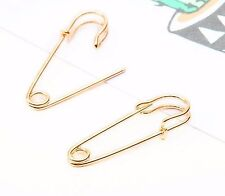 Yellow Gold Colour Safety Pin Ear Stud Earrings Ear pins Climber Rings GLD ecf08