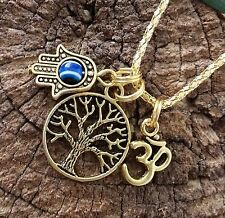 Good LIFE Karma Gold Tone TREE OF LIFE OM HAMSA EVIL EYE protection Necklace