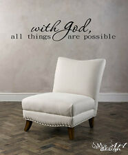 WITH GOD ... WALL ART VINYL DECAL STICKER quote jesus lord prayer proverb faith