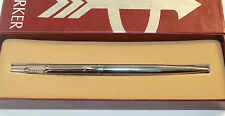 Vintage PARKER CLASSIC Brushed Stainless Steel Ball Point Pen Original Box