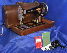 SINGER 128-13 LONG SHUTTLE SEWING MACHINE 1919 SERVICED HAND CRANK BENTWOOD CASE