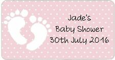 24 Personalised Stickers Baby Shower Pink Baby Feet Footprints Labels