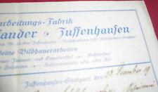rechnung alt antik großmann & pfander atelier stuttgart zuffenhausen 1919 papier