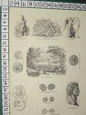 1845 print ~ roman pièces cuivre britannia romain victoire thames coway stakes