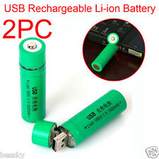2PCS 18650 3.7V 3800mAh USB Rechargeable Li-ion Battery for Flashlight Torch New