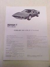 Ferrari 308 GTB Chinetti Garthwaite Sale Brochure Triple Fold Flyer U.S. Version