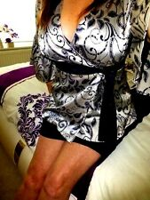 Silver Satin blouse shiny top mistress long sleeve secretary size 14 chest 40""