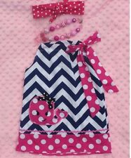 Blue, White, and Pink Chevron Pillowcase Dress With Necklace and Headband. 3T