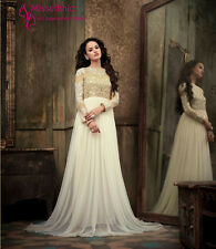 Gown Fancy White Net Pakistani Style Bollywood Heavy Exclusive Indian Party wear