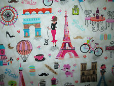 VINTAGE PARIS LANDMARKS EIFFEL TOWER OVERALL COTTON FABRIC BTHY