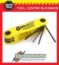 "BONDHUS GORILLA GRIP 9pce A/F 0.05 – 3/16"" FOLD UP HEX KEY SET – MADE IN USA"