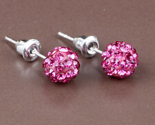 1 pair Shining 10mm Rose Disco Bead Ball Pave Earrings jewelry DIY B16