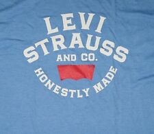 Mens Levis Brand Tshirt sz L Denim Goods Vintage Jeans Logo Retro Honestly Made