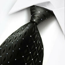 UK018 New Silk Black White Lattices Classic WOVEN JACQUARD Necktie Men's Tie