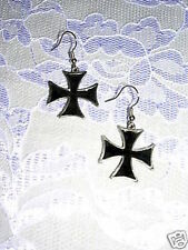 NEW IRON CROSS MALTESE CROSS w BLACK INLAY PEWTER DANGLING WIRE HOOK EARRINGS