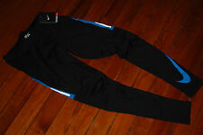 NEW Nike DriFit Black & Cool Blue Reflective Running Compression Tights (Medium)