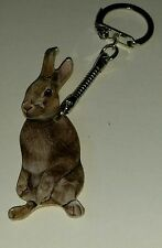 Wooden Rabbit key ring keychain Hand made in UK New