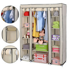 "Beige Portable Closet Storage Organizer Wardrobe Clothes Rack Shelf 53""x18"""