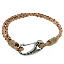 "Mens 7.5"" Beige Leather Bracelet With Stainless Steel Clasp"