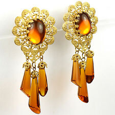 Miriam Haskell Gold Filigree And Topaz Triple Pendant Clip Earrings