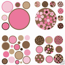 Polka Dots 42 Wall Pops Decals PINK BROWN DOT Room Decor Stickers Flowers Girl