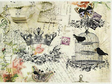 Rice Paper for Decoupage Decopatch Scrapbook Craft Sheet Vintage Crown Bird Cage
