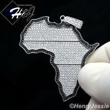 MEN 925 STERLING SILVER ICED OUT BLING HIP HOP AFRICA MAP CHARM PENDANT*SP80