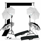 Studio Photo Umbrella Lighting Background Screen Black White Backdrop Stand Kit